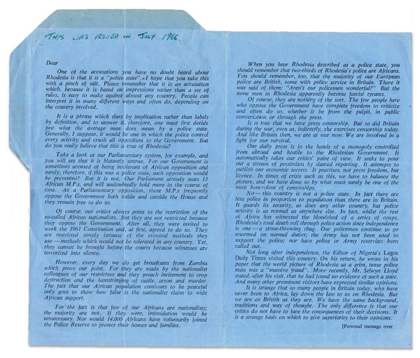 Rhodesian Propaganda air letters: One of the accusations...