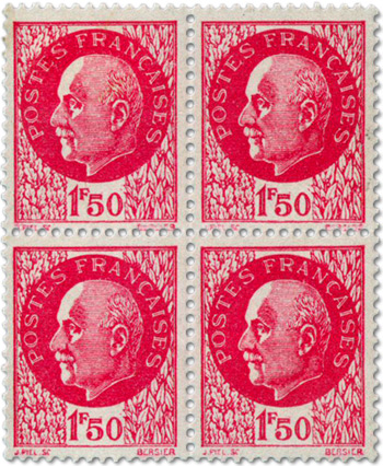 Propaganda stamps - The Petain Bareheaded Vignette