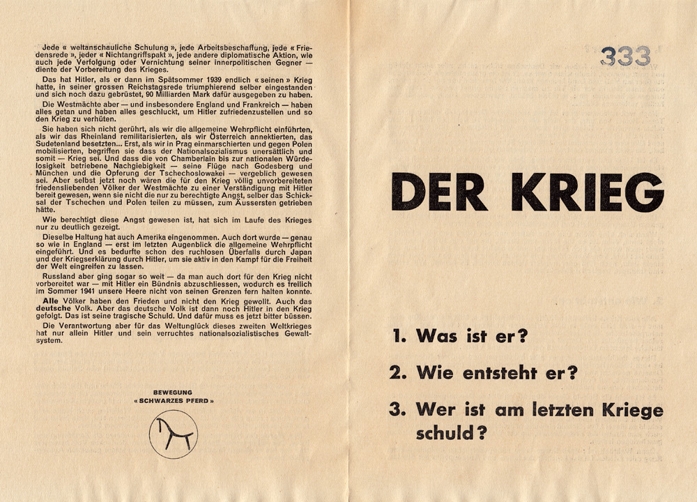 The first of four leaflets where Schuhl placed the horse image