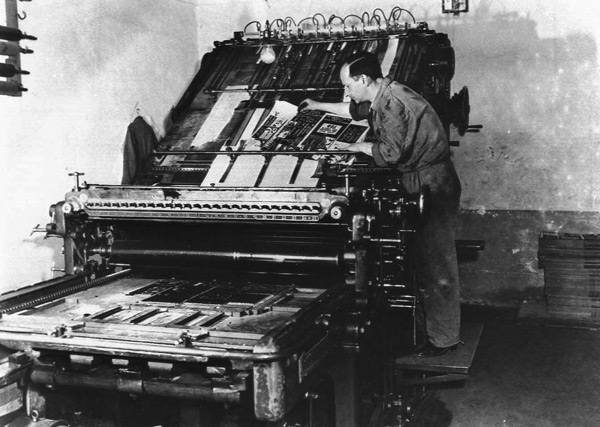 Operation Sauerkraut - The OSS print shop prepares leaflets and gummed stickers