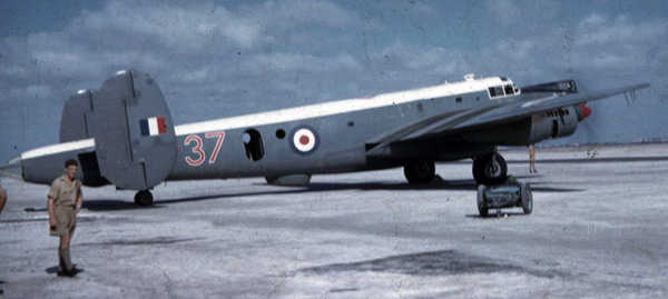 A Shackleton from 37 Squadron on the tarmac at RAF Khormaksar, Aden