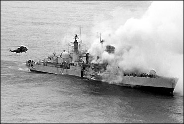 The Destroyer Sheffield after hit by an Exocet missile