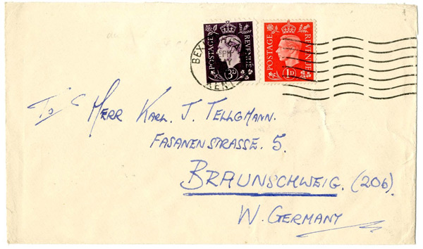 A German definitive Parody mailed from Britain to Germany