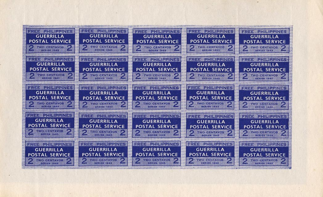 A complete sheet of the Philippine Guerilla Stamps
