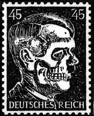 45-pfennig Hitler parody was depicted in the January 1945 United States 12th Army Group propaganda newspaper Frontpost