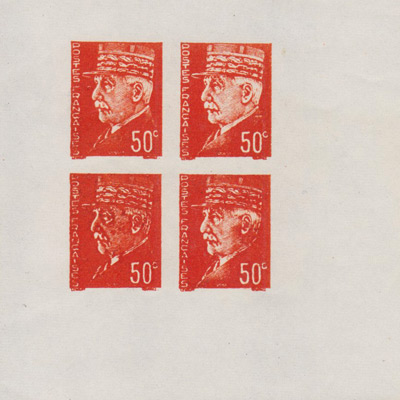 50c Petain with Cap Vignette in Wrong Color