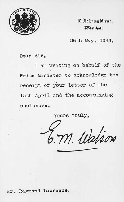 "Reply from Winston Churchill's Office Acknowledging receipt of the ""Spitler"""