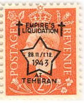 Forged postage stamp 2d Empire's Liquidation at Teheran overprint