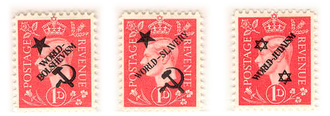 Forged postage stamp 2d World overprints
