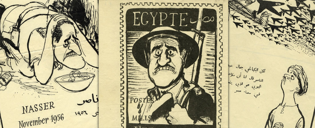 Propaganda leaflets prepared during the Suez Crisis