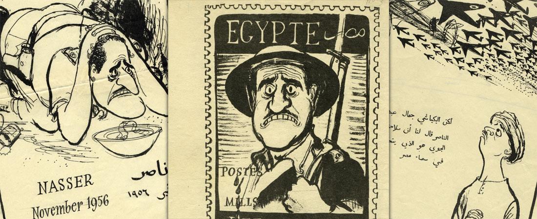 Propaganda leaflets prepared during the Suez Crisis