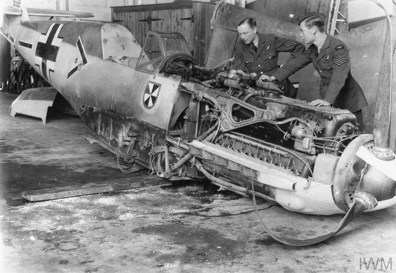 Messerschmitt Bf 109E-4 (W.Nr 1480), piloted by Oberleutnant Franz von Werra, the adjutant of II/JG3 'Udet', which crash-landed on 5 September 1940 at Winchet Hill, near Marden in Kent. (IWM HU 73426)