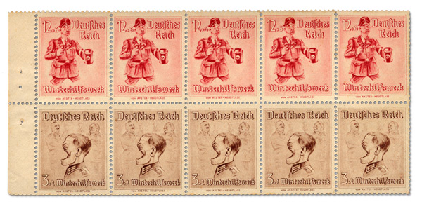 A pane of Winterhilfe stamps