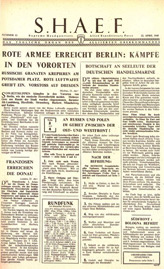 Random PSYOP leaflet - S.H.A.E.F. Newspaper, No. 12, 22 April 1945 - RED ARMY SHELLING BERLIN: FIGHTING IN THE SUBURBS