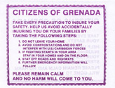 No Code, CITIZENS OF GRENADA TAKE EVERY PRECAUTION TO INSURE YOUR SAFETY