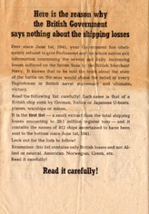 Random PSYOP leaflet - Here is the reason why the British Government says nothing about the shipping losses