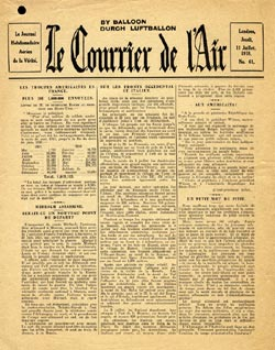 Le Courrier de l'Air, 11 Juillet 1918, No. 61 - Les Troupes Am�ricains En France - Plus De 1, 000, 000 Envoy�es