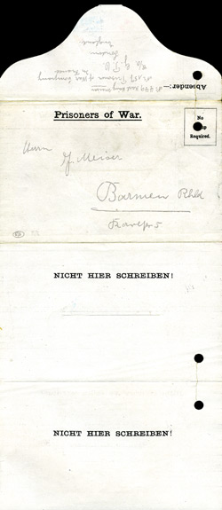 E/6, Prisoners of War Letter - Absender:- No. 449, Karl Heinz Meiser