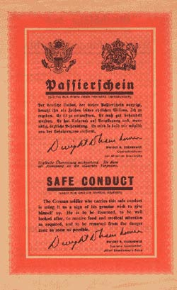 Falling Leaves - ZG.90, PWD/SHAEF Passierchein/Safe Conduct leaflet.
