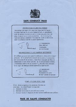 Falkland Islands propaganda leaflet - Safe Conduct Pass