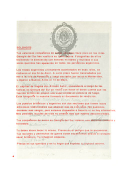 Falkland Islands propaganda leaflet - Surrender at South Georgia