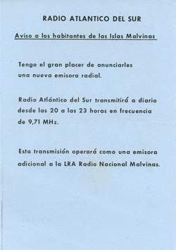 Falkland Islands propaganda leaflet - South Atlantic Radio