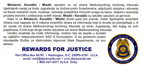Reward for Slobodan Milosevic, Radovan Karadzic, and Ratko Mladic
