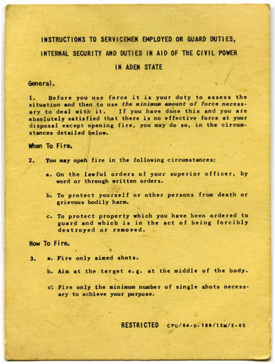 Rules of Engagement card authorising when British troops could use force.