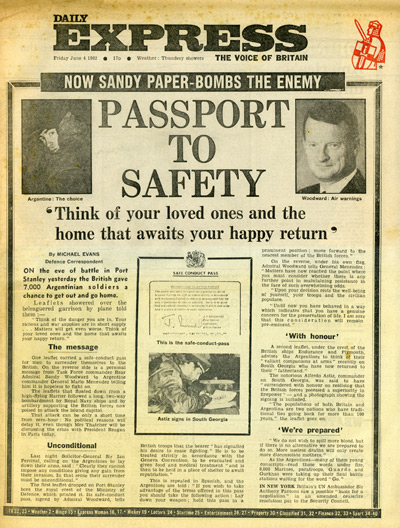 The Daily Express, 4 June 1982 showing Safe Conduct Pass