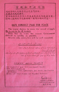 Malayan Emergency Safe Conduct Pass for Peace