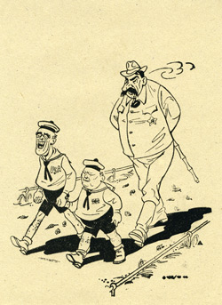 165/ 10 44, Cartoon of Roosevelt holding hands with Churchill, followed by Papa Stalin
