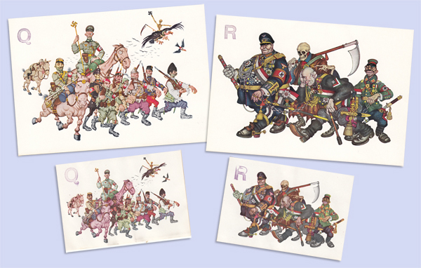 OWI/OSS Berne Clandestine Propaganda:  Q and R Arthur Szyk postcards and stickers
