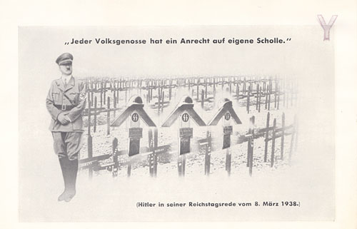 OWI/OSS Berne propaganda postcard:  EVERY CITIZEN HAS A RIGHT TO HIS OWN PIECE OF LAND