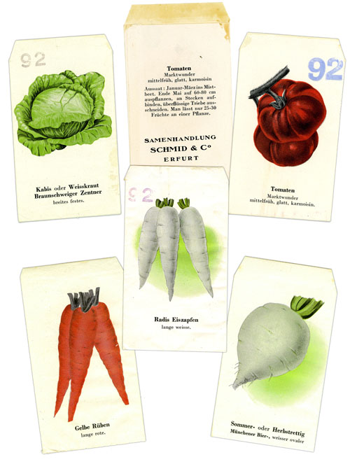 Various fake seed packets containing a forged edition of the Frankfurter Zeitung newspaper