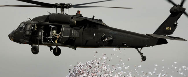 Iraq: Leaflet drop from helicopter.