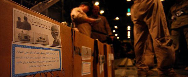 Iraq: boxes of PSYOP leaflets ready for dropping.